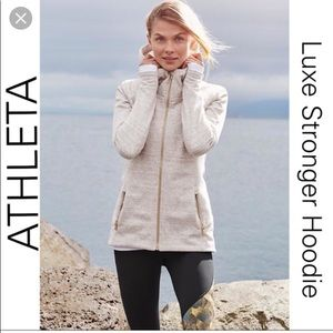 Athleta luxe stronger hoodie M fur lined oatmeal